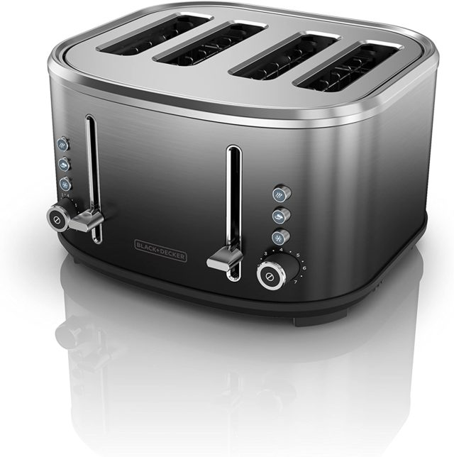 BLACK+DECKER 4-Slice Extra-Wide Slot Toaster, Stainless Steel