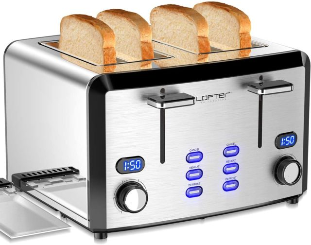 LOFTer Prime Rated Bread Toasters with Compact LED Display, 4 Slice Toaster, 1400 W